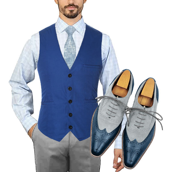 Ocean Look - Blue waistcoat with puzzle design tie, blue bubble socks, Smart Ocean our leather and suede oxford shoes for men - Runit365