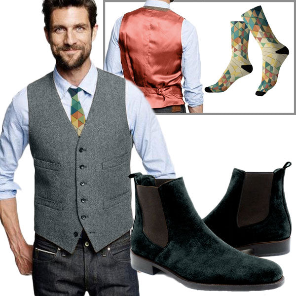 Pythagore Look - Teal wool waistcoat with orange satin back, peacock Chelsea boots and geometric triangle design socks and tie - Runit365