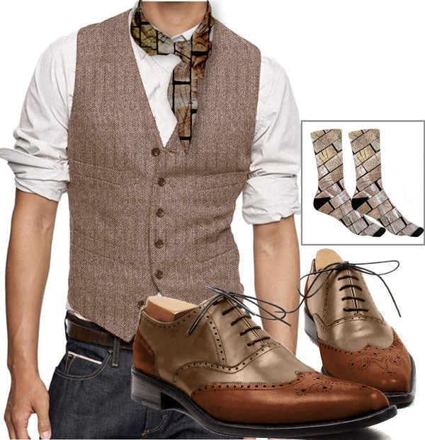 Wood Style - Gaspar brown waistcoat with wood neckerchief, wood socks and beige orage Smart oxford shoes - Runit365