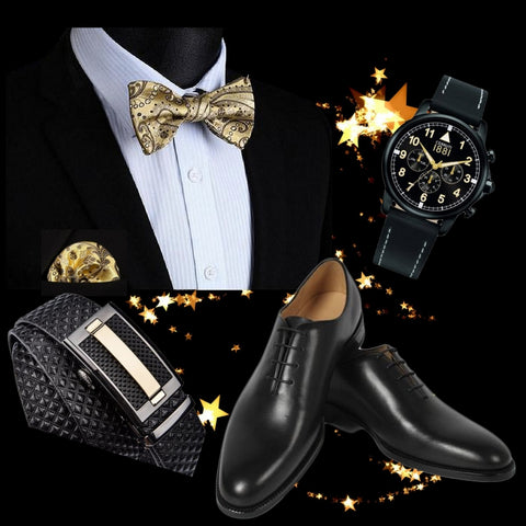 Runit365 - Outfit - Classy Gold Bow tie Christmas - Gold silk bow tie, black no cuts leather shoes, cerruti watches amd black leather belt with gold stripe on buckle