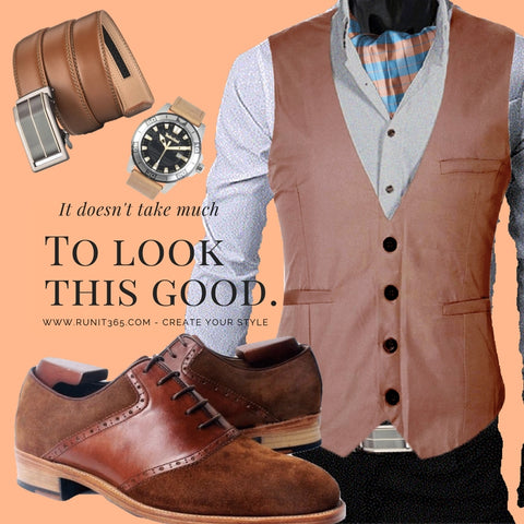 Runit365 - Outfit Trendy woody - Suede brown leather derby shoes for men, Orange and blue checks silk Ascot tie, Brown Leather men belt and Cerruti Watch for men