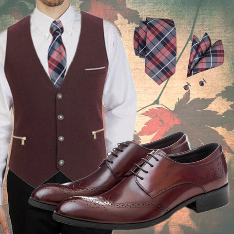 Runit365 - Classy Scottish style to enhance the burgundy variant of these stylish shoes for men. Add our Dandy burgundy zipped pockets waistcoat on our classy slim fit Brooks Brothers lilac shirt with plaid silk tie Scott