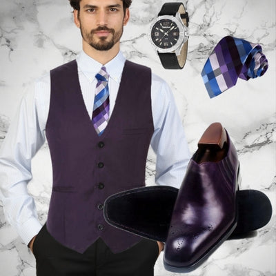 Trendy purple outfit - Slip on Deep purple derby men shoes, stripes blue and purple silk Tie and Timberland men watch Wallace - Runit365