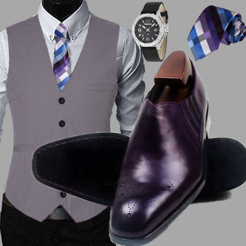 Runit365 - Sllp on Deep purple derby men shoes, stripes blue and purple silk Tie and Timberland men watch Wallace