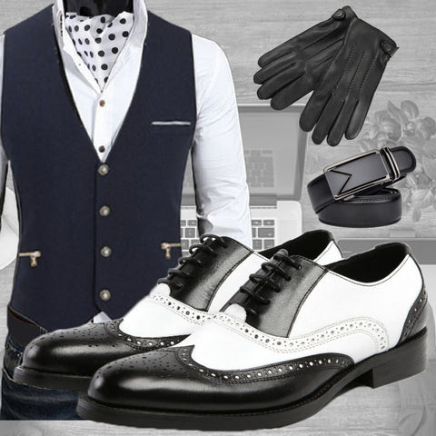 Smart Casual Jazzy outfit - Black waistcoat with zipped pocket on side, Leather oxford shoes black and white Jazzy, warmen gloves for men Ray, automatic black belt Triangle and silk ascot tie white with black dots Robin - Runit365