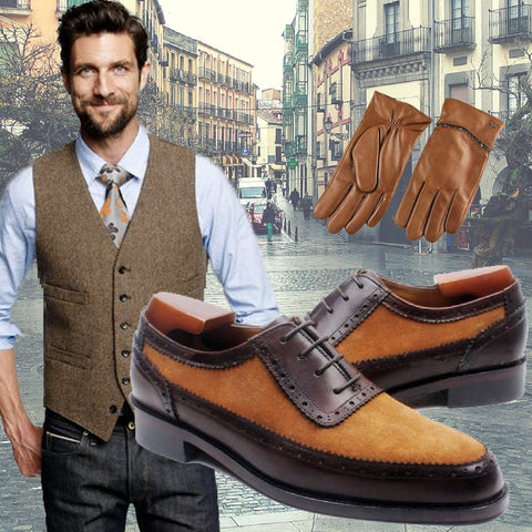 Trendy Autumn - Suede lace up men shoes with tweed waistcoat for men Max and floral silk tie Florida