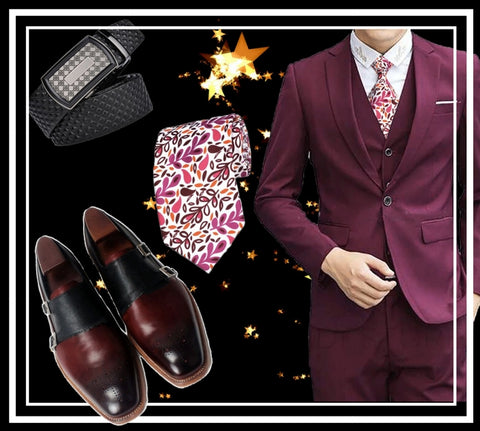 Runit365 - Shop the Look Elegant Napoli - Burgundy leather shoes for men, floral design silk tie Pink Leaves and automatic black leather belt Silver Cane