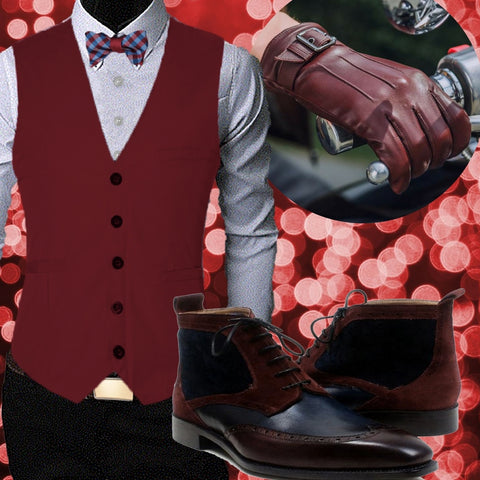 Runit365 - Smart Casual Bowtie Red, burgundy and navy blue ankle boots for men and burgundy leather gloves for men Harry