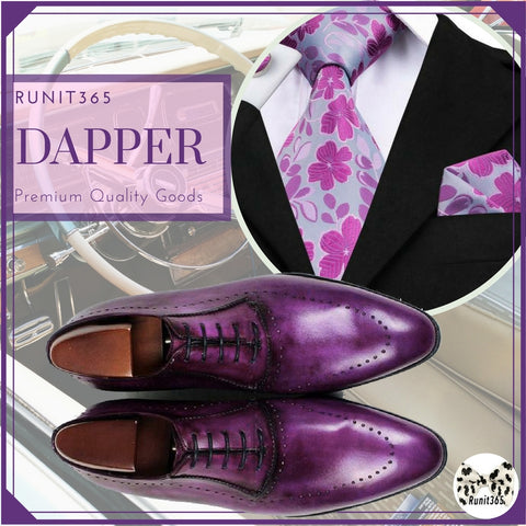Runit365 - Purple Mind - Purple Silk Tie and purple leather derby shoes for men