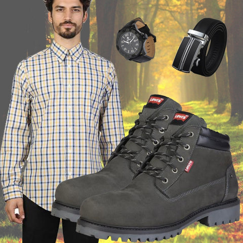 Runit365 - Outfit Smart Casual Angel - Levis grey hiking boots Angel for men, yellow and blue checks design Brooks Brothers slim shirt for men, automatic leather men belt Split silver and black buckle and Timberland men watch Ogunquit