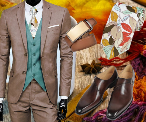 Runit365 - Outfit Paris style - Elegant floral design silk tie, automatic brown leather belt Sleek brown and leather brown derby shoes Smart Buckle