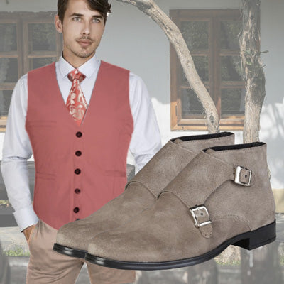 Trendy Outfit Ferdinand - Pink floral design silk Tie Sunset and beige suede ankle boots with 2 buckles Ferdinand - Runit365
