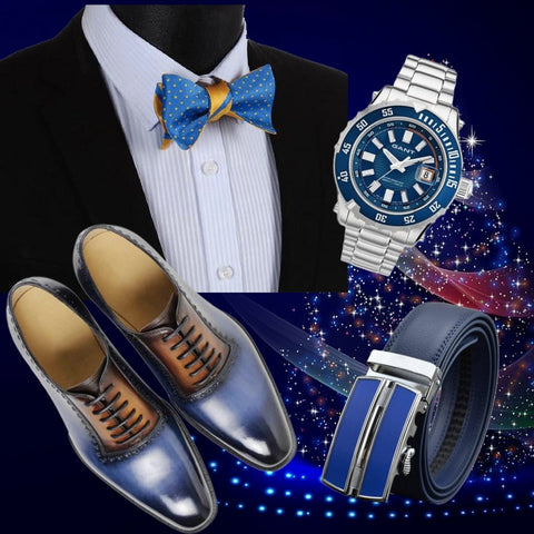 Runit365 - Outfit Trendy Blue bowtie Christmas - Double sided blue and yellow silk bow tie, Gant pacific men watch, Split buckle automatic leather belt and 2 colors leather shoes for men