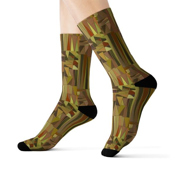 Bambou Socks - mix of brown and green colors in floral design cotton socks - Runit365