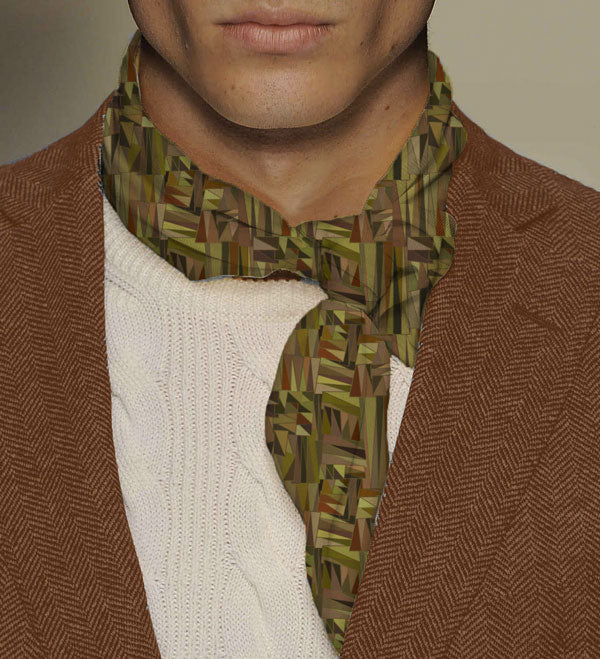 Bambou Neckerchief - Mix of brown and green floral design poly-satin scarf - Runit365