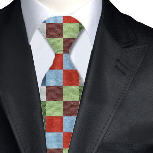 Colored square Tie - Red, blue, green and blue Checks design - Runit365