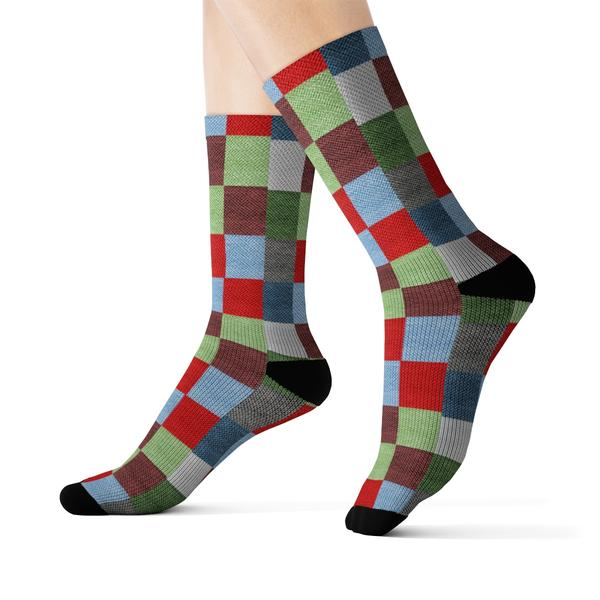 Colored Square Socks - Red, blue, green and blue Checks design - Runit365