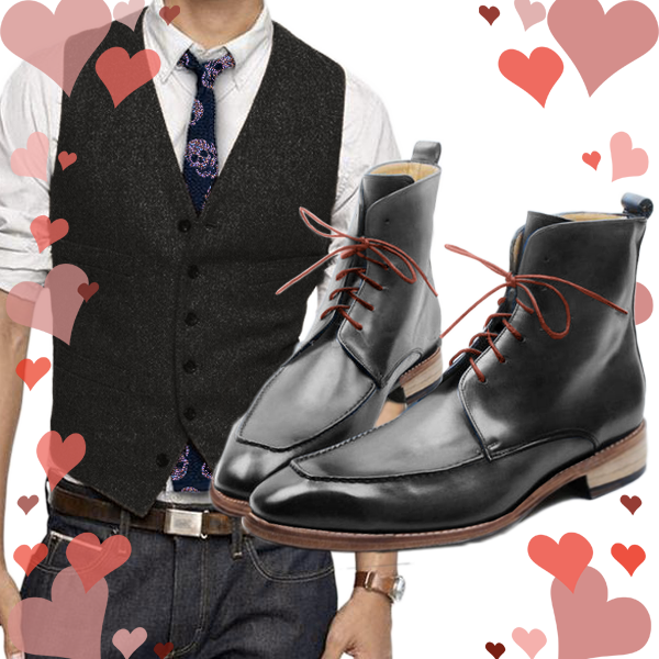 Black waistcoat, black ankle boots with red shoe lace, neck tie with skulls spread all over - Only at Runit365