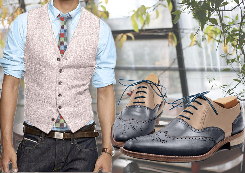 Sweet pastel outfit - Pink wool waistcoat with colored square tie and beige/blue wingtip oxford shoes for men - Runit365
