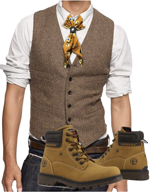 Trendy outfit with brown hiking boots, wool waistcoat and yellow floral neckerchief