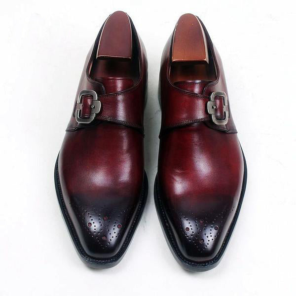 Horace - Deluxe Burgundy monk strap men shoes