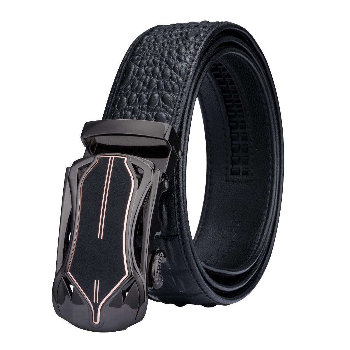 Plaid Set - Black lizard belt with set of 3 buckles