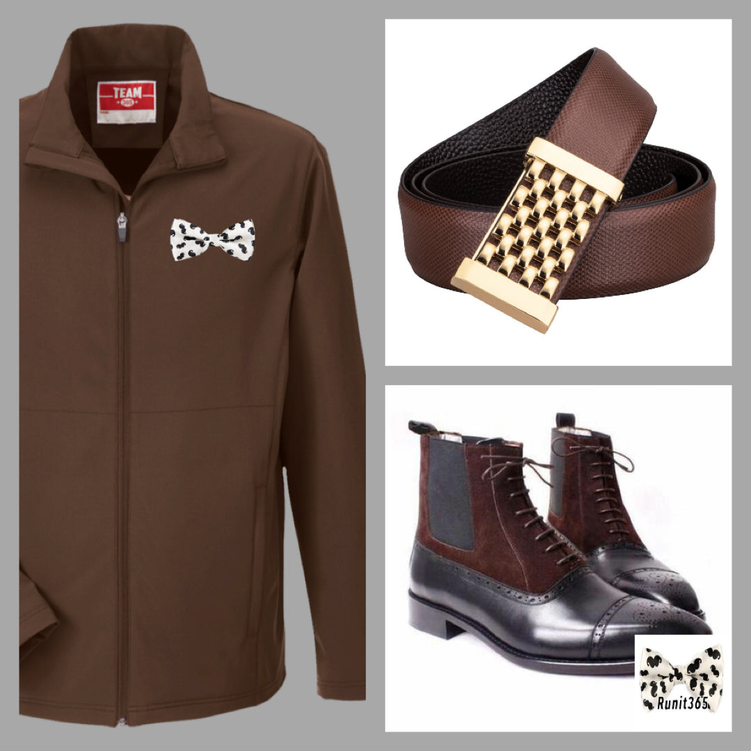 Firenze ankle boots outfit with brown Runit365 logo jacket for men and leather men belt Precious