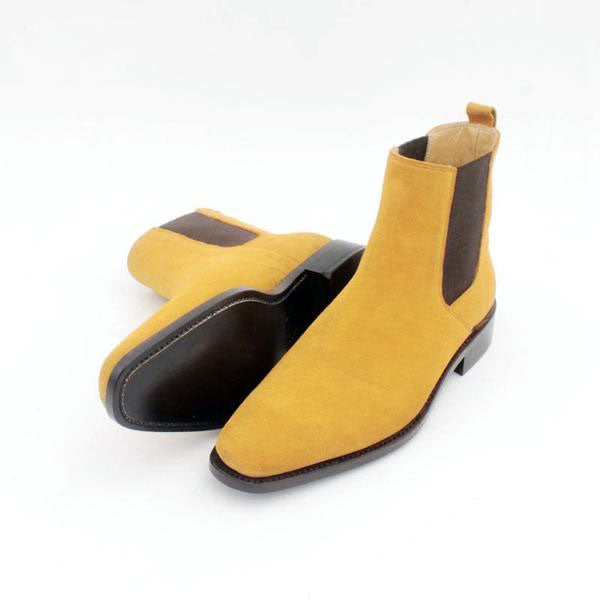 Joey yellow - suede men Chelsea boots