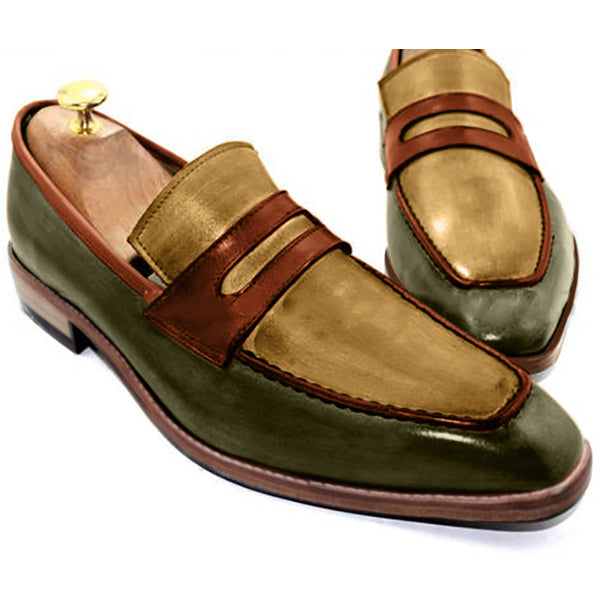Bambou Mocassins - Green bottom, golden yellow top and orange strips, enjoy these Genuine leather slip-on shoes for men - Runit365
