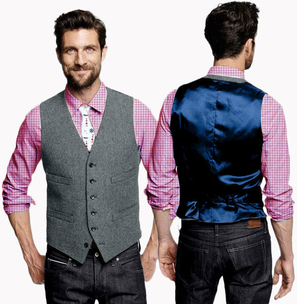 Max Nautical - Blue wool men's vest with deep blue satin back - Runit365