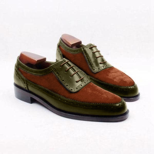 Autumn Oliver - Dark Green leather and orange suede oxford shoes - Runit365