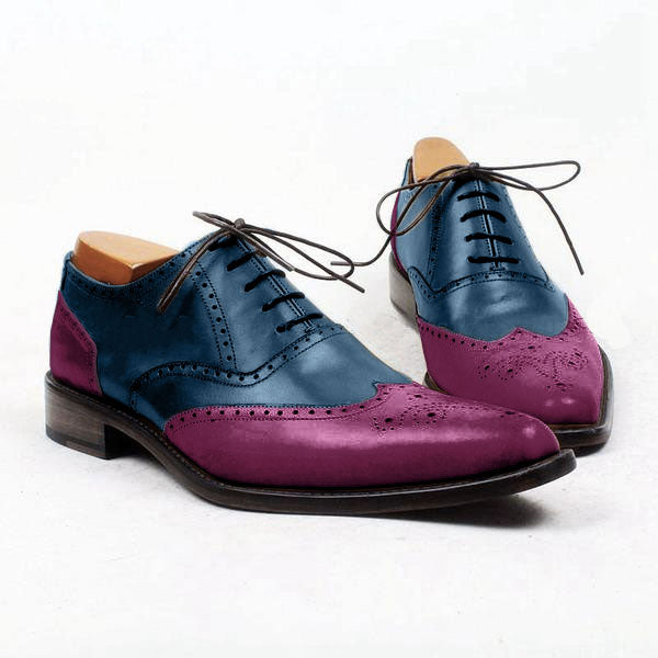 Smart Romantic - Blue and purple wingtips oxford shoes - Runit365