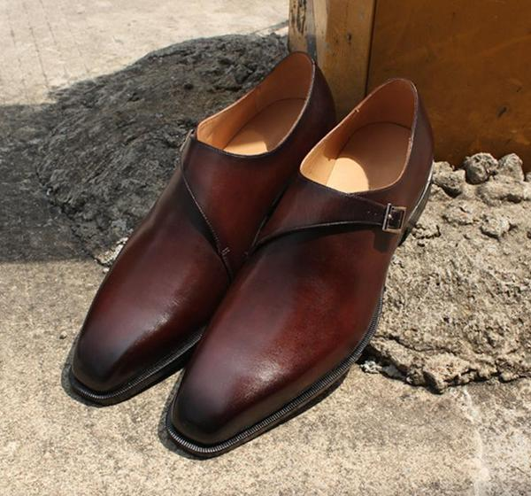 Smart Buckle - Deluxe brown monk strap shoes