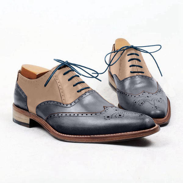 Smart Sweet - Blue and beige wingtip oxford shoes for men - Change colors to meet your taste with our shoe personalizer - Runit365