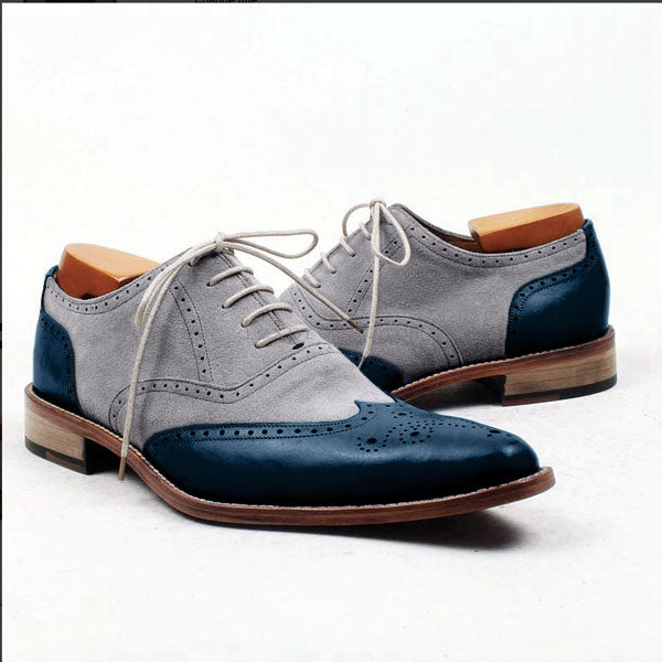 Smart Suede Ocean - Mix of leather and suede wingtip oxford shoes - Runit365