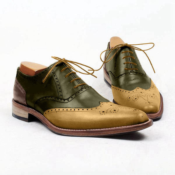 Smart Bambou - Green, golden yellow Genuine leather brogue shoes - Runit365