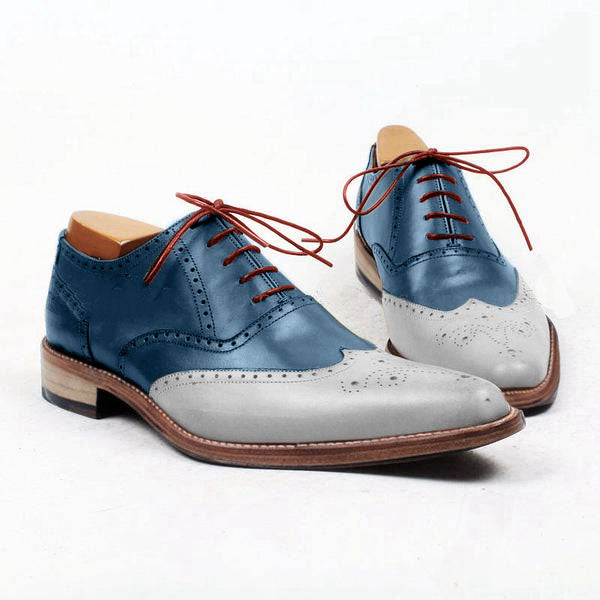 Smart Nautical - Blue and white white brogue oxford shoes for men - Runit365