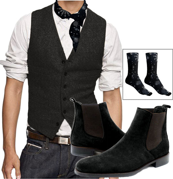 Pythagore Look - Teal waistcoat with orange back, Peacock Chelsea Boots and geometric colored triangle design neck tie and socks - Runit365