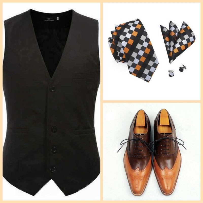 Orange spring set - Brown vest with orange and brown checks silk tie and brown and orange wingtip shoes