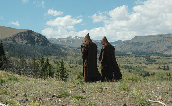 Monks from Mystic Monk Coffee praying in the Mountains of Wyoming