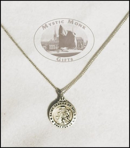 St. Teresa Medal Sterling Silver, Medals - Mystic Monk Coffee