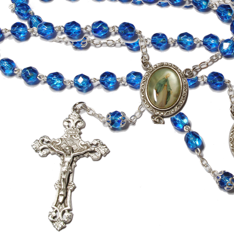 Our Lady of Grace Crystal Rosary - 7mm, Rosaries - Mystic Monk Coffee