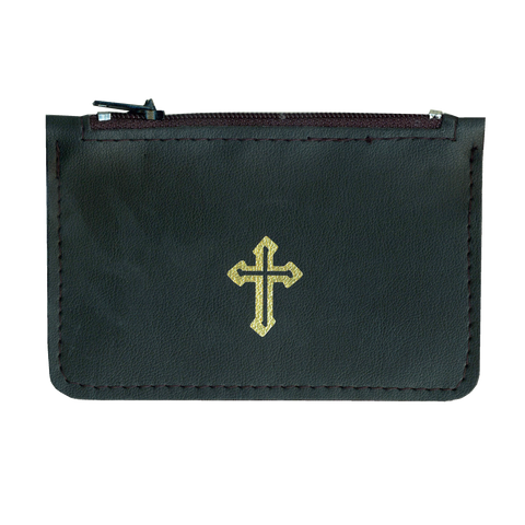 Rosary Pouch Black Leather, Rosaries - Mystic Monk Coffee