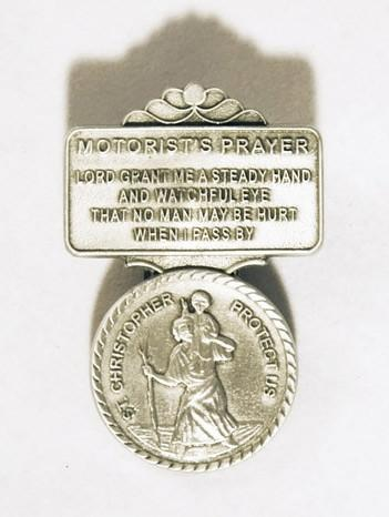 Saint Christopher Visor Clip Pewter, Medals - Mystic Monk Coffee