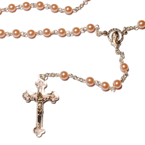 Pink First Communion Rosary - small 5mm, Rosaries - Mystic Monk Coffee