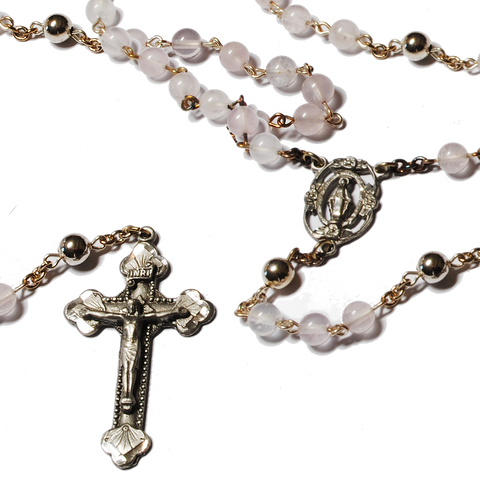 Rose Quartz Silver Plated Rosary - 6mm