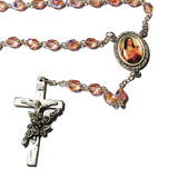 St. Therese Pink Glass Rosary, Rosaries - Mystic Monk Coffee