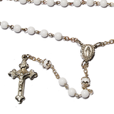 White Tin Cut Rosary - small 5mm, Rosaries - Mystic Monk Coffee