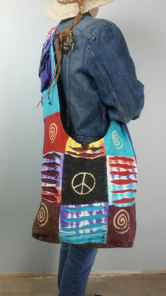 Peace Sign Cotton Festival Bag/FREE SHIPPING TODAY