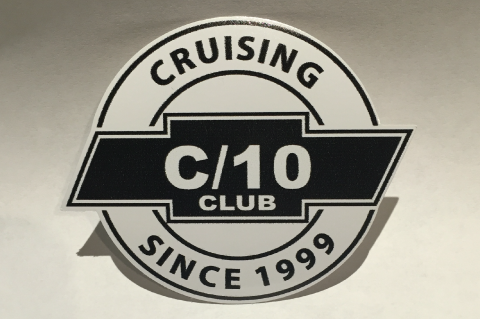 "C10 Club Cruising Sticker 3"" Round 